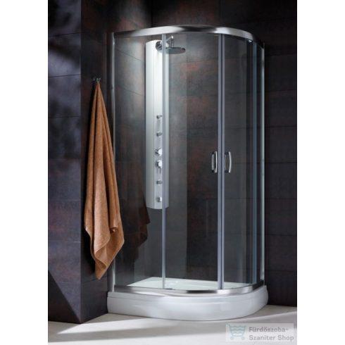 Radaway Premium Plus E 1900 90x80 aszimmetrikus íves tolóajtós zuhanykabin króm/átlátszó 30492-01-01N