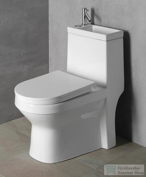 AQUALINE HYGIE monoblokkos WC, alsó/hátsó kifolyású, WC-ülőkével, mosdóval PB104